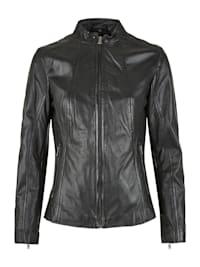 Lederjacke mit Uni-Design und Reißverschlusstaschen