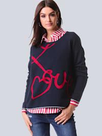 Pullover mit exklusivem Jaquardmuster von Alba Moda