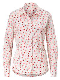 Hemdbluse mit Schwalben-Print