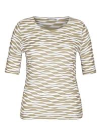 Shirt mit gestreiftem Muster und Rundhalsausschnitt