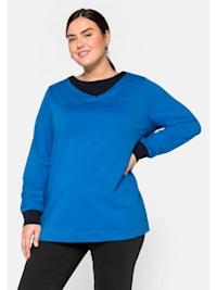 Sweatshirt mit Kontrastdetails, in kastiger Form