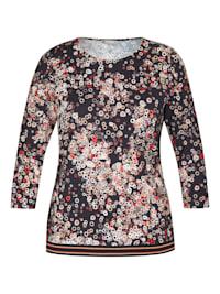 Shirt mit geometrischem Muster und Glitzergarn