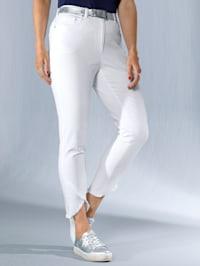 Jeans met asymmetrische rand met franjes