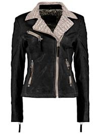 Damen Lederjacke mit Strickelementen und Kontrastverarbeitung