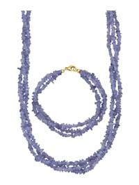 2tlg. Schmuck-Set aus Tansanit-Splittern