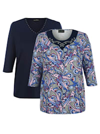 Shirts per 2 1 x met bladerenprint, 1 x effen