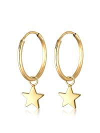 Ohrringe Creolen Hänger Sterne Astro 925Er Sterling Silber