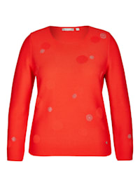 Pullover mit Punkte-Muster und Glitzersteinen