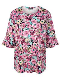 Tričko s celoplošným květinovým vzorem