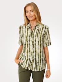 Bluse mit Batikdruckdessin
