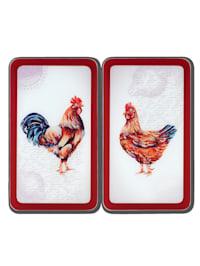 """Set de 2 protège-plaques """"Poule& Coq"""""""