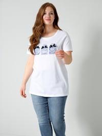 Shirt met parfumflacon-motieven