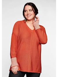 Pullover mit geringeltem Ärmelbündchen