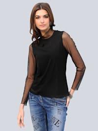 Shirt met transparant mesh