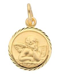 Damen Goldschmuck 585 Gold Anhänger Amor Ø 14 mm