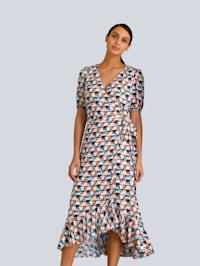 Wickelkleid mit Volants aus reiner Viskose