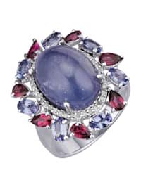 Damenring mit Tansanit, Rhodolith und Diamant