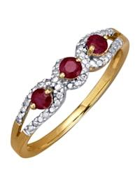 Naisten rubiini- ja timanttisormus