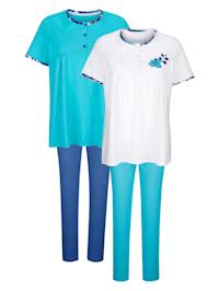 Pyjamas par lot de 2 à jolies fronces sous l'encolure du T-shirt
