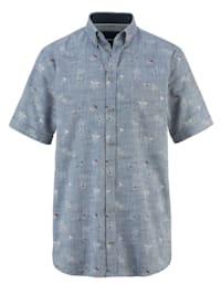 Lněná košile barvená příze a potisk