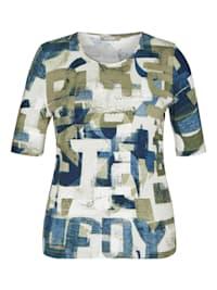 Shirt mit abstraktem Allover-Print und Glitzernieten