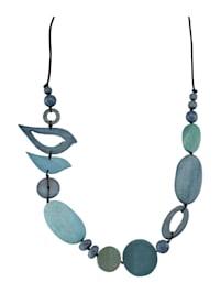 Halskette mit Holzelementen