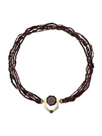 Turmalin/Granat-Collier mit 1 schwarzen Diamant