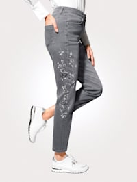 Jeans with a floral pattern