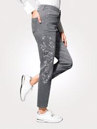 Jeans med tryckt blommotiv