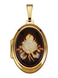 Médaillon avec cabochon d'ambre