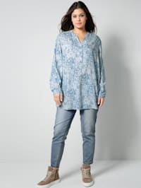 Tunika-Bluse in floralem Dessin