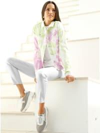 Jeansjacke mit Batik-Muster
