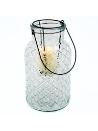 Windlicht mit Henkel Glas, Metall