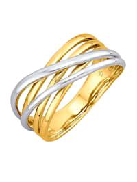 Damenring in Gelb- und Weißgold 585