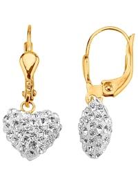 Herz-Ohrringe mit weißen Kristallen