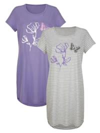 Nachthemden im 2er-Pack mit hübschem Blumendruck