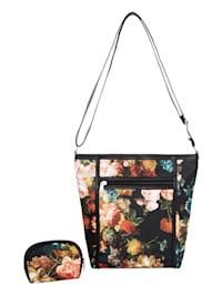 Axelremsväska & sminkväska med blommönster 2 delar