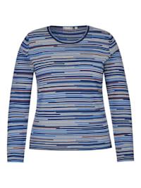 Pullover mit bunten, gestreiften Details und Glitzergarn