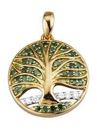 Lebensbaum-Anhänger mit Diamant und Brillant
