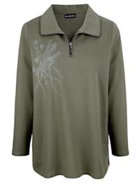 Sweatshirt med gnistrande stenar och nitar