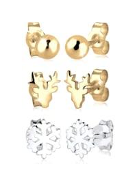 Ohrringe 2Er Set Bi-Color Rentier Schneeflocke Silber