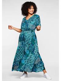Kleid mit Patchwork-Print und Smok-Taille