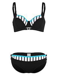 Bikini met turquoise paspels