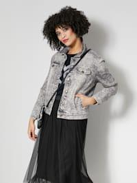 Džínová bunda s ozdobnými štrasy