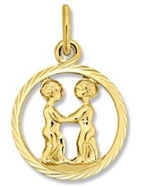 Damen Schmuck Sternzeichen Anhänger Zwilling aus 333 Gelbgold
