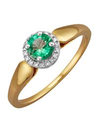Damesring met 1 smaragd en diamanten