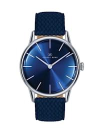 Uhr Serenity Deep Blue Silver Blue Perlon 32mm