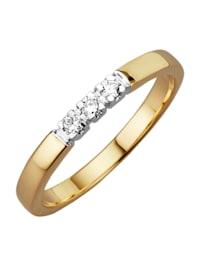 Memory-ring met 3 diamanten
