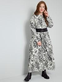 Web-Kleid rundum mit Blumendruck