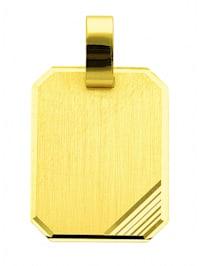 Damen Goldschmuck 585 Gold Gravurplatte Anhänger